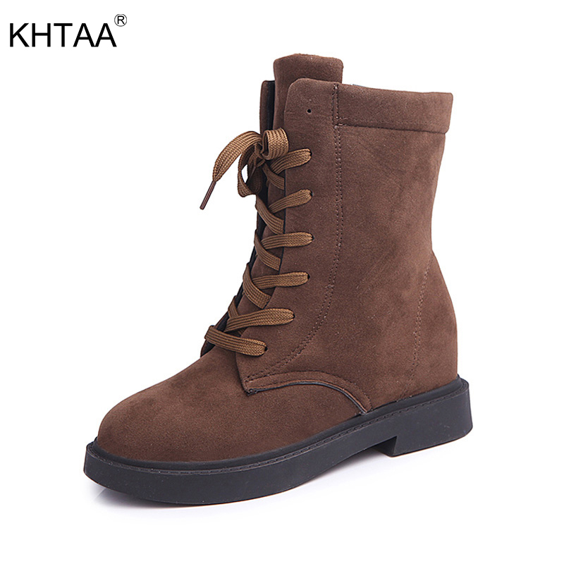 KHTAA Female Winter Warm Plush Ankle Snow Boots 2017 Women Fashion Fur Lace Up Thick Heel Casual Solid Black Style Shoes