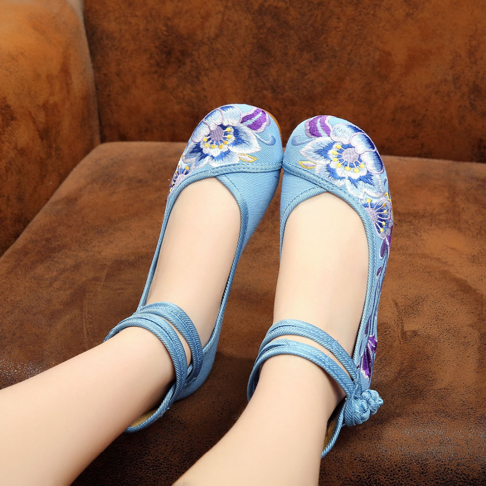 Women Purple lotus Pregnant woman Chinese flats Comfort canvas shoes Ballet ankle strap Embroidered wedding mary