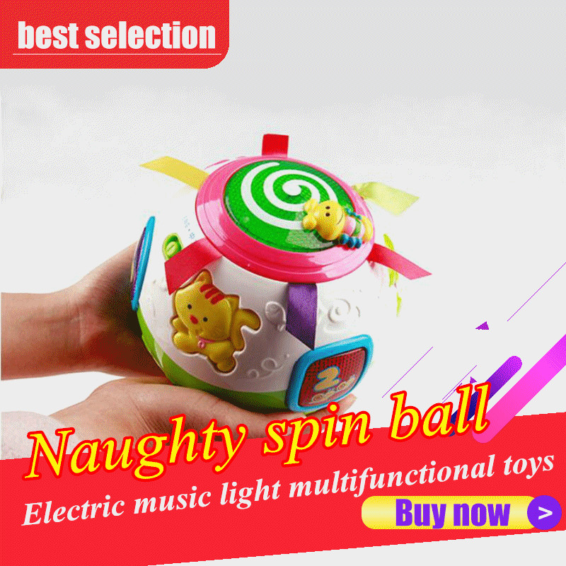 Baby puzzle toy naughty spin ball electric music light multifunctional children interaction balance ice cubes toys