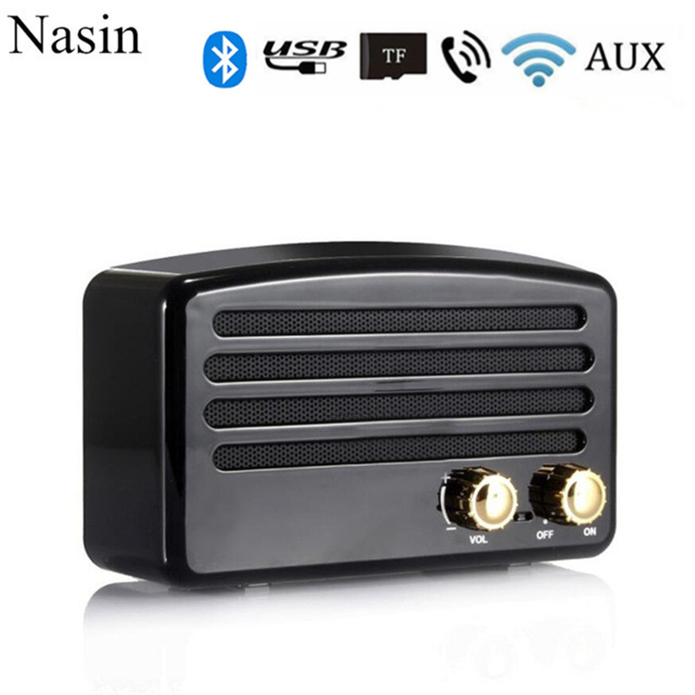 Nasin T5 Tragbare Vintage Retro Subwoofer Stereo Mini Wireless Bluetooth Lautsprecher Für Xiaomi Samsung Huawei Iphone