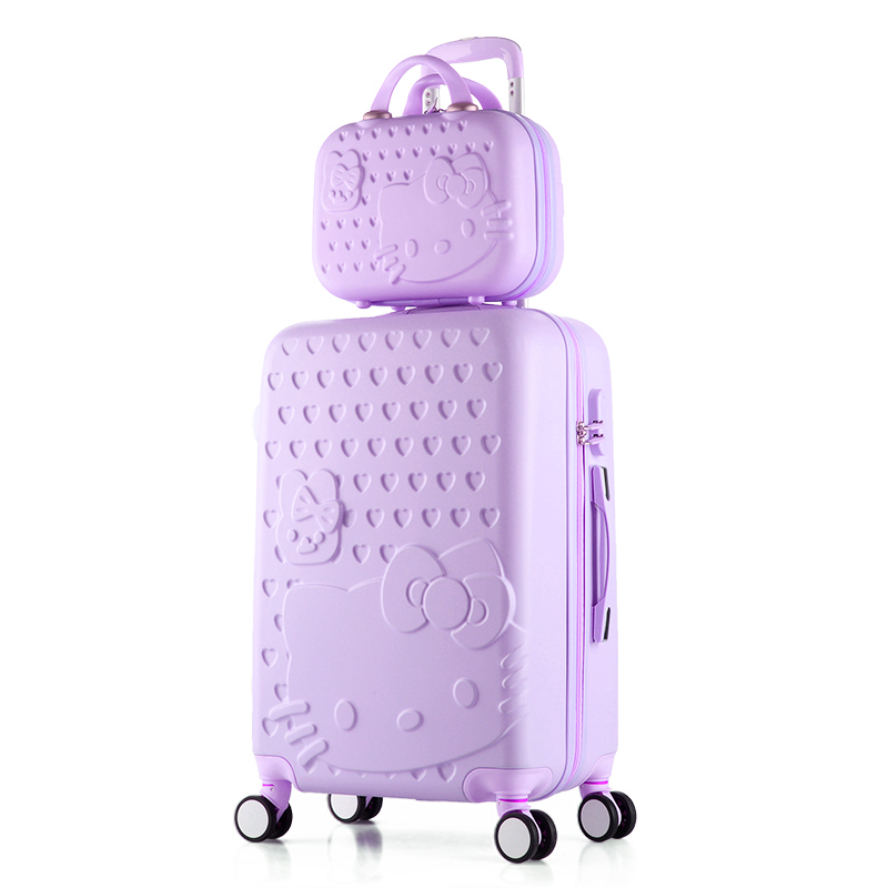 2PCS/SET Lovely 20 22 24 28 inches girl students trolley 14inch Cosmetic bag hello Kitty Travel luggage woman rolling suitcase