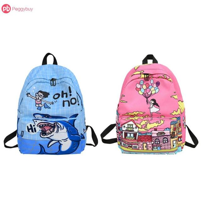 fd164d200881 Blue Pink Cartoon Shark Graffiti Print Backpack Women Girl Nylon Travel  Shoulder Schoolbags Big Capacity Easy To Carry