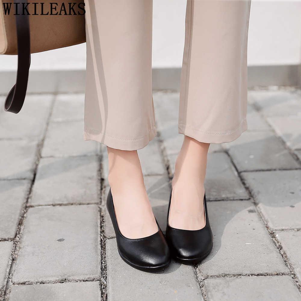 Ufficio scarpe da donna nero degli alti talloni zeppe scarpe per le donne fetish di alta talloni delle pompe delle donne scarpe tacco alto chaussures femme buty