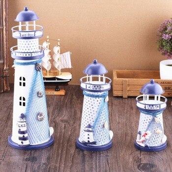 הים התיכון סגנון מלאכת קישוט עם מנורת ברזל ימי מגדלור עיצוב הבית אביזרי פיות גן