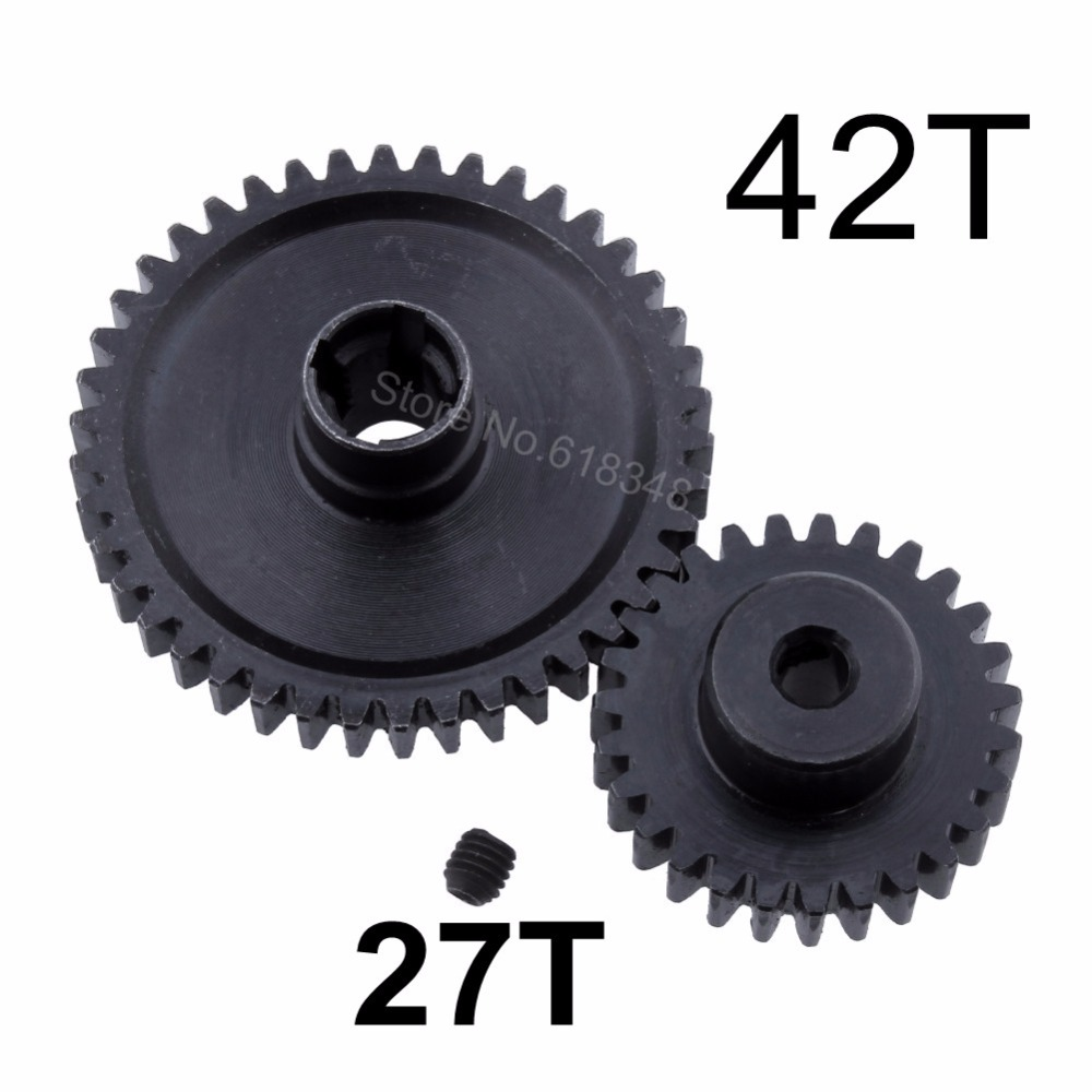Metal 42T Reduction Spur Gear Diff Main & Motor Pinion Gear 27T For WLtoys A959-B A969-B A979-B K929-B Replacement of A959-B-15 wltoys a959 b 13 540 motor 1 18 a959 b a969 b a979 b rc car part