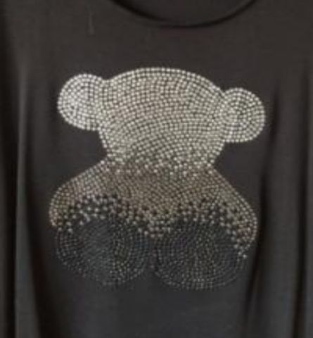 2pc/lot Bear Hot Fix Rhinestones Motif Iron On Appliques Patches For Shirt Coat Sweater