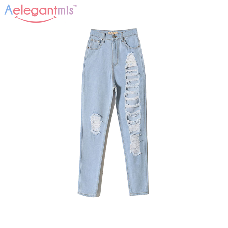 Aelegantmis Cotton Boyfriend Ripped Jeans Women Light Blue Loose Hole Straight Jeans Destroyed Casual Denim Pants High Waist New