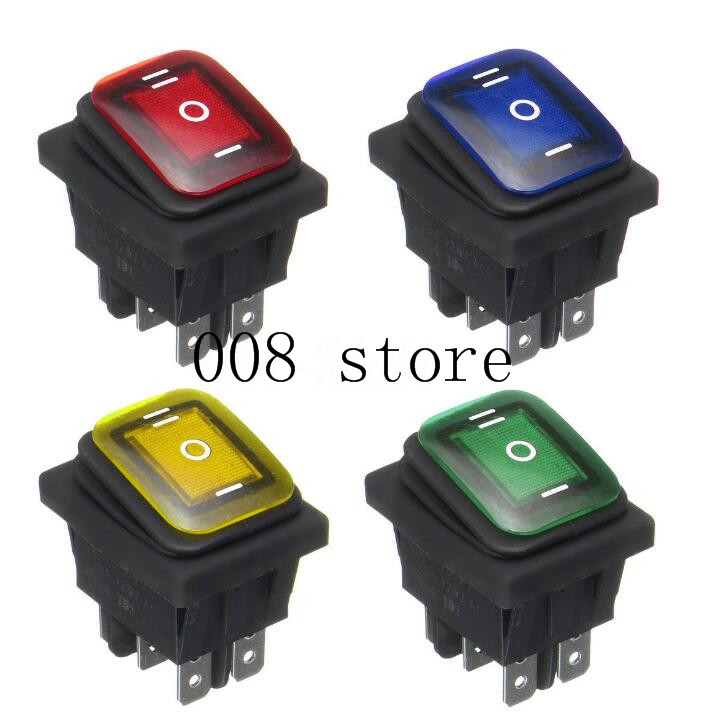Waterproof 16A 250VAC / 20A 125VAC 16A LED Lignt Rocker Toggle Switch Momentary Car Boat On-off-On 6PIN 20 pcs 12v 20a amps on off 3 position terminal round rocker led toggle switch blue