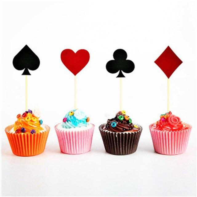 24 CHIẾC Bánh Topper Xi Chơi bài sòng bạc Đảng bánh cờ trang trí Bunting cung cấp
