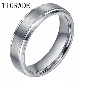 revendeur 55ffc e8524 TIGRADE 6mm Mens Silver Tungsten Carbide Ring Brushed High Polished Edges  Wedding Rings Women Engagement Band Famale bague homme