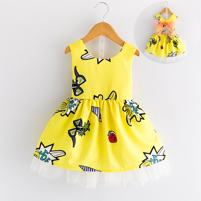 Fashion 2017 Summer Dress for Girls Print Backless Princess Children's Clothing Girl Costume Baby Kid's Party Dress School Wear