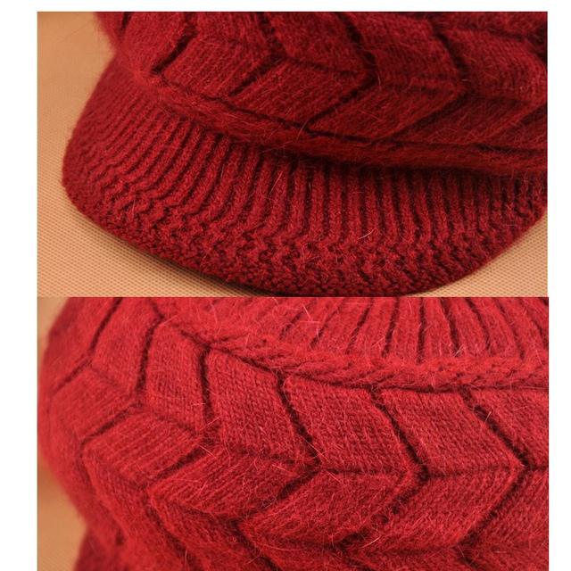 Womens Wool Hats with Brim Winter Knit Warm Caps Bonnet Femme
