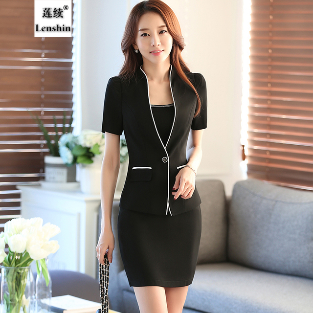 2016 New Summer Two Piece Women Sets Clothes Short Sleeve Elegant Top business formal office Lady Blazer Sets Female Skirt Suits