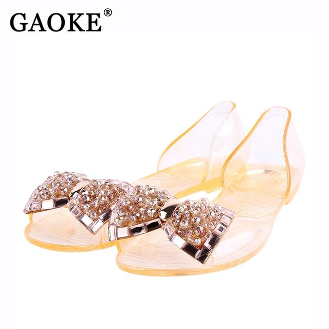 Sandals femmes de la mode nouveau Bout ouvert strass bowknot Jelly plat O66jTC4Na
