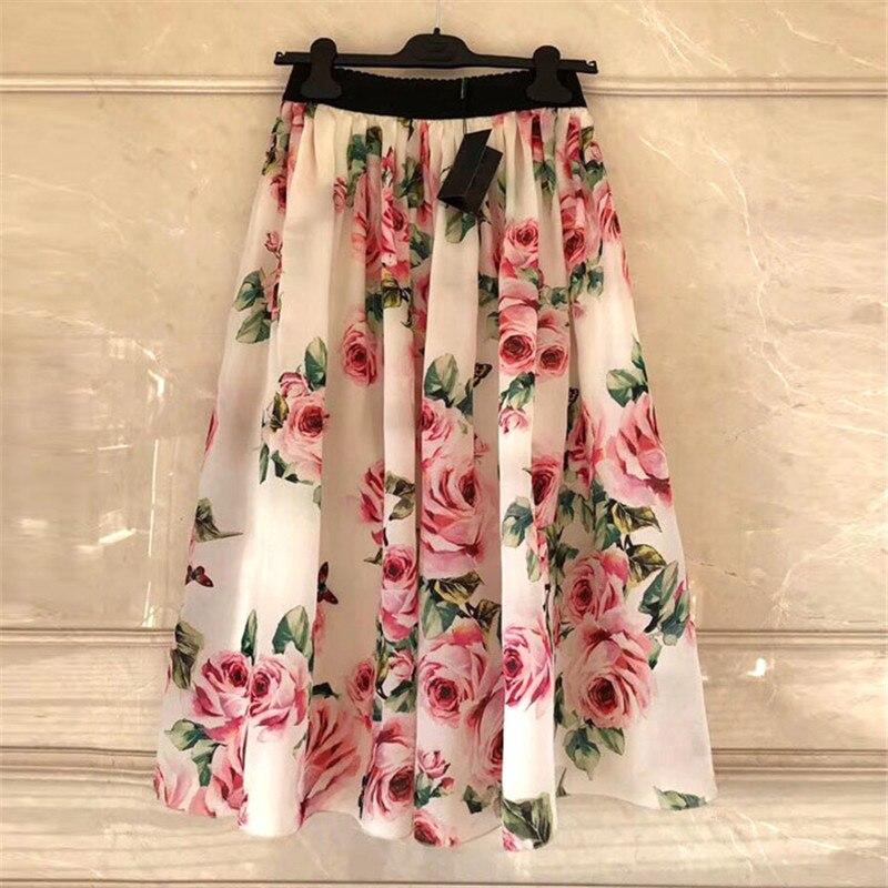 D marque de luxe jupe de piste pour les femmes style sicilien Sexy taille haute papillon Rose imprimer une ligne mi-mollet jupe robes de fête