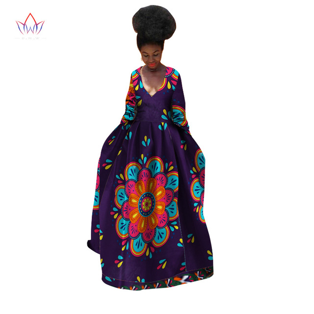 9f62b4f422b74 BRW African Dress for Women summer Long Sleeves Vintage Maxi Dashiki Bazin  Riche Robe longue Femme v-neck dress Plus Size WY532