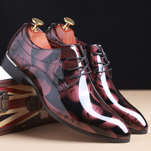 YIDASKU Fashion Men Party and Wedding Handmade Oxfords Men Patent Leather   Luxury Brand Oxfords Dress Shoes
