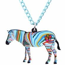 Colorful Zebra Pendant Necklace
