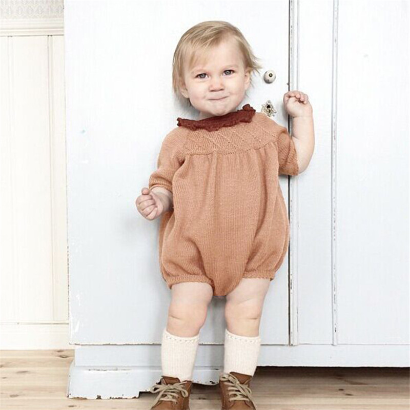 0-5Years Knitted Baby Rompers Autumn Winter 2016 New Long Sleeve Baby Girl Romper Cotton Baby Girl Clothes Toddlers Jumpsuits