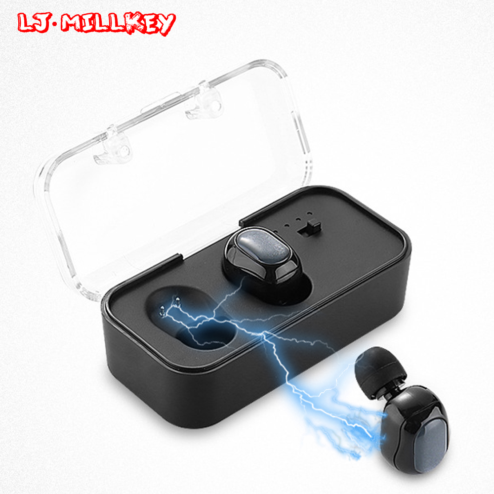 TWS Bluetooth Earphone Business Stereo Earbuds True Wireless Earpiece Headset with Mic Portable Charger Box LJ-MILLKEY YZ136 bluetooth earphone earbuds wih mic handsfree car mini wireless stereo headset magnetic charger earpiece for ios android ep001