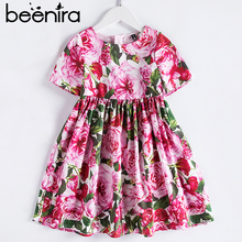 Beenira European And American Style Dress 2020 Summer Children Short Sleeve Flower Patter Party Dress Design 4 14Y Baby Clothes