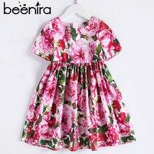 Beenira estilo europeu e americano vestido de verão 2020 crianças manga curta flor patter vestido de festa design 4 14y roupas do bebê