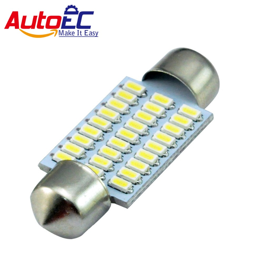 AutoEC 2x Car Readling Light Autolamps LED C5W Festoon 27 LED SMD3014 36mm 12v White led auto lamp #LK122