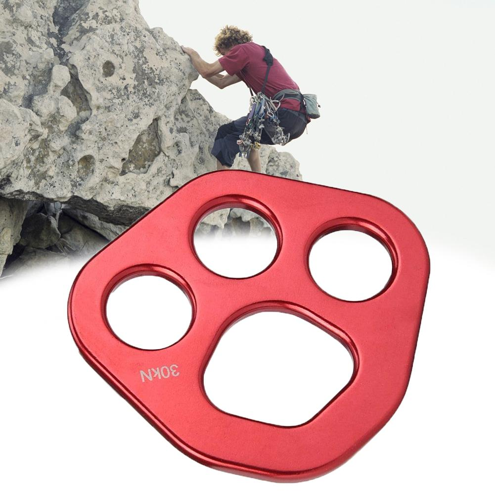 30KN 4 Holes Rigging Plate Aluminum Rock Climbing Multi Anchor Point Connector