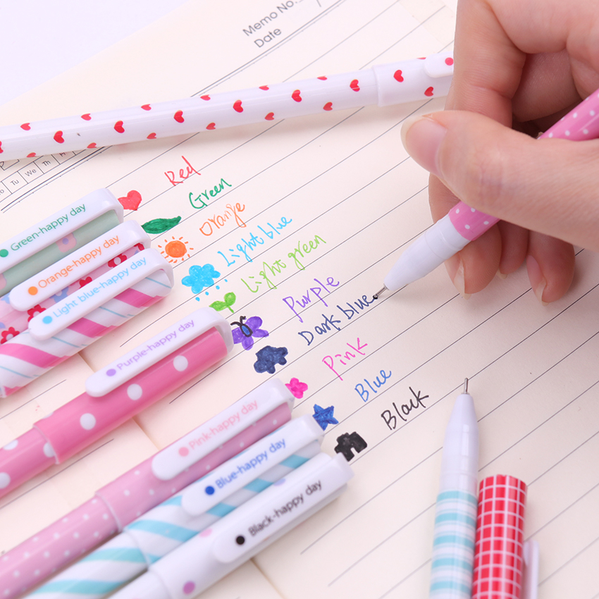 10PCS Korean Stationery Watercolor Pen Gel Pens Set Color Kandelia For Writting Office School Supplies Gift