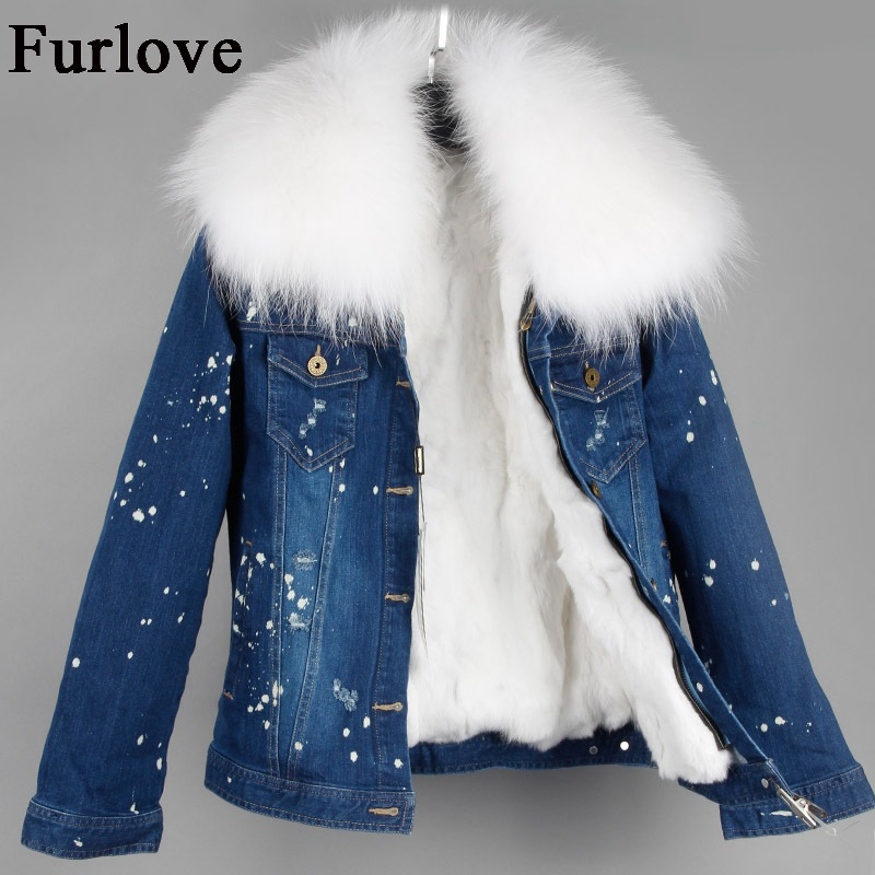 New Denim Jacket Women Raccoon Fur Collar Short Parka Real Rabbit Fur Lining For Winter Coat female parkas jeans Jackets Coats faux rabbit fur brown mr short jacket sleeveless with big raccoon collar fall coat