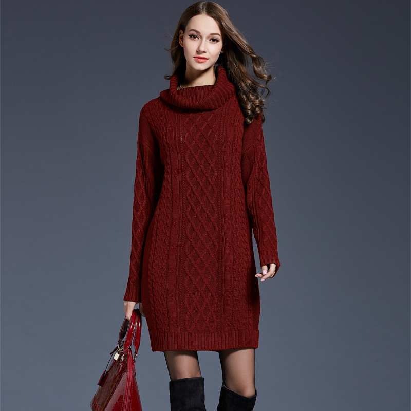 Women Long Sleeve Sweater Dress Autumn Turtleneck Pullover Knitted Dresses Thick Tricot Women Winter Knitwear Vestido Mujer 2018
