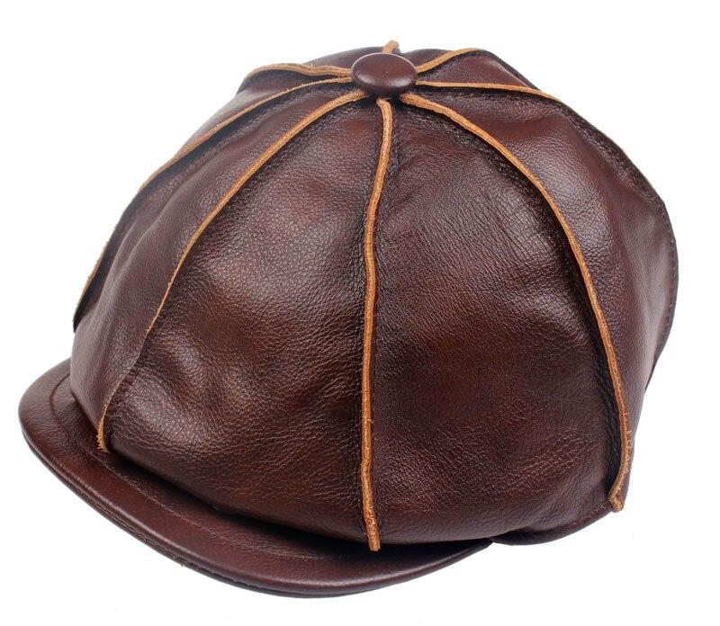 c0cb1e50a54 Adult Popular Men s Fashion Winter Leather Caps Octagonal Cap Casual  Vintage Newsboy Cap Golf Driving Hat Artist Hat