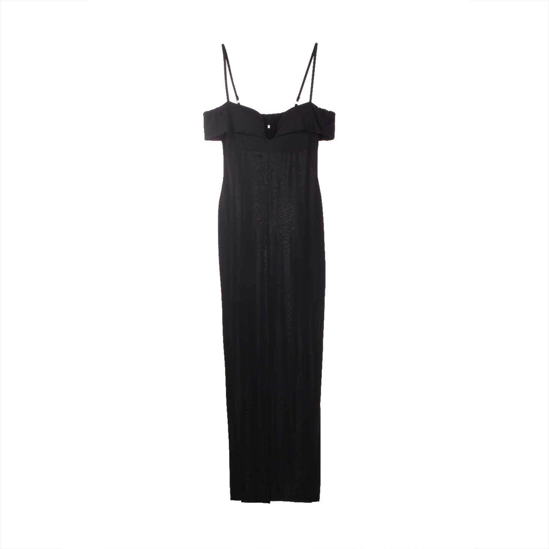 2019 mode femmes à manches courtes moulante longue robe sexy femme sans bretelles fête Cocktail noir mince gaine formelle longues robes