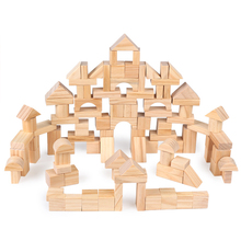 цена на 100 Pcs/Lot Premium Wooden Building Blocks Set Children Toys Environmental Wooden Castle Blocks Kit Nature Wood Stacking Cubes