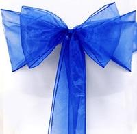 SZS Hot 25 Royal Blue Organza Chair Cover Sashes Bow For Wedding Party Decor