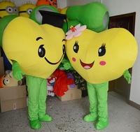 Высокое качество желтое сердце любовь талисман костюм Любовь Сердце талисман косплей костюм, бесплатная доставка может из смешанного каше