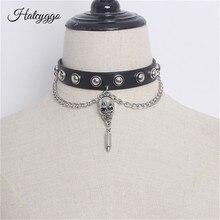 HATCYGGO Genuine Leather Choker Skull Collar Bondage Goth Women belt Necklace Punk Trendy Rock Sexy Gothic Belt Chain