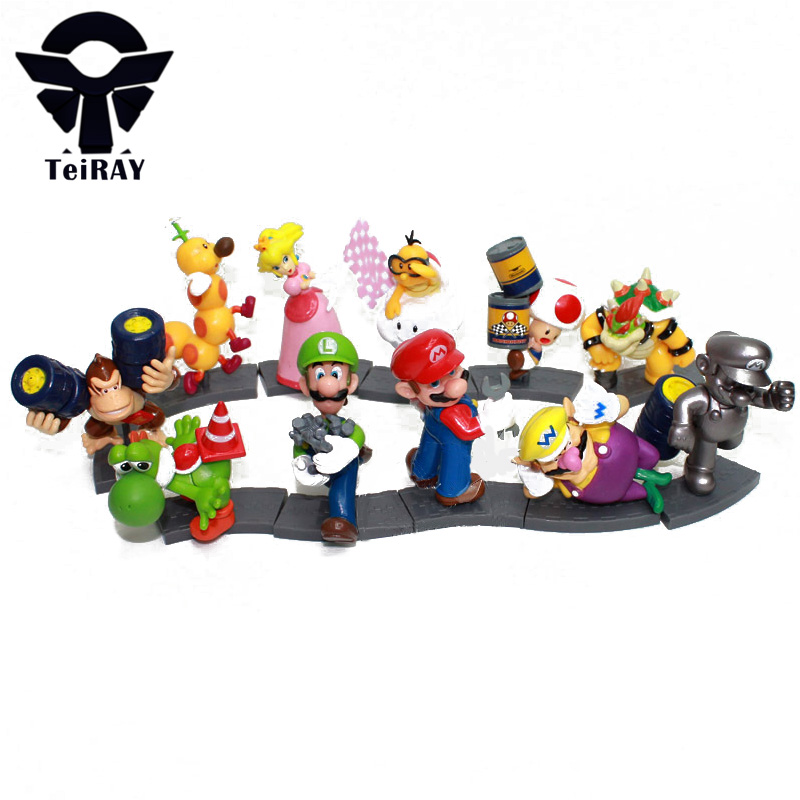 11pcs/set Anime Super Mario Bros Luigi Mario Peach Yoshi Toad Donkey Kong mini action figures model toy doll kidsbirthday toys super mario bros yoshi plush doll toy with tag soft yoshi doll kid s gift 28cm