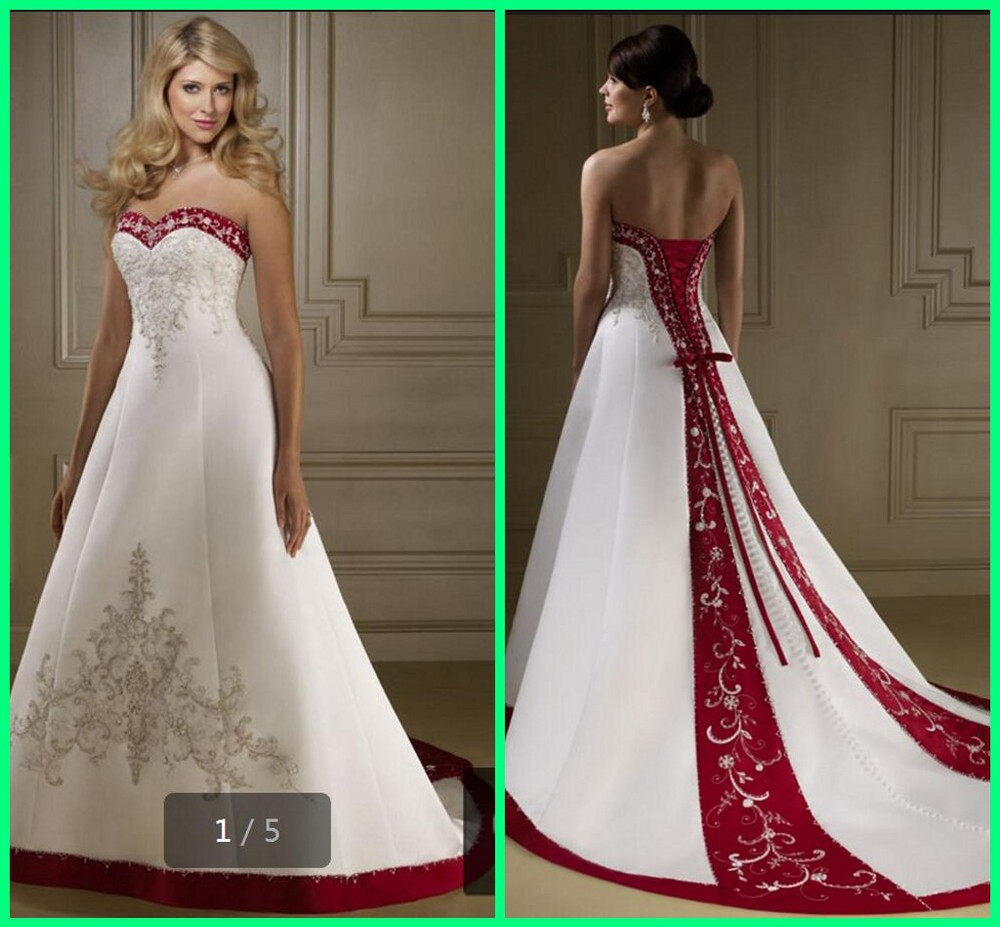 Buy hot sale sweetheart beading for Red and black wedding dresses for sale
