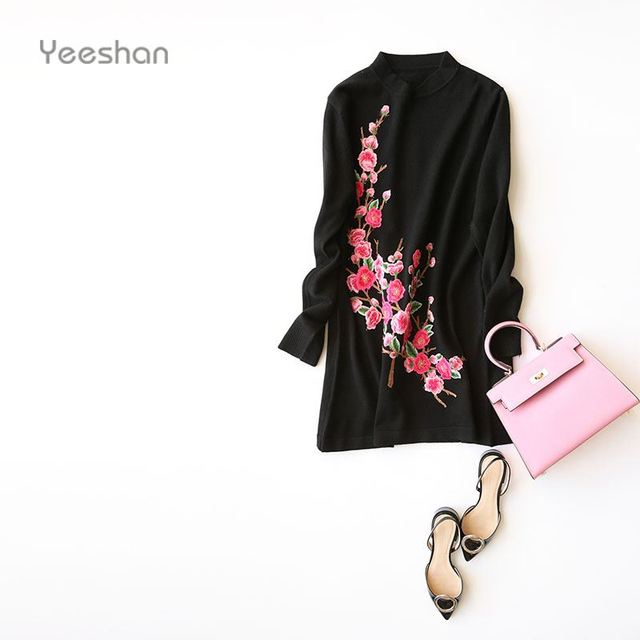 Yeeshan Cashmere Embroidery Sweater Long Sleeve Women's Sweaters and Pullovers Casual Mandarin Collar Long Sweaters Women Brand