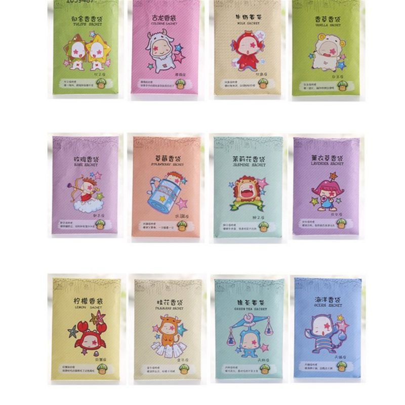 6x9cm Hause Duft Sachet Tasche Natürliche Korn Duftenden Kleiderschrank Deodorant Lufterfrischer Bunte Gedruckt Paket 12 Aromen