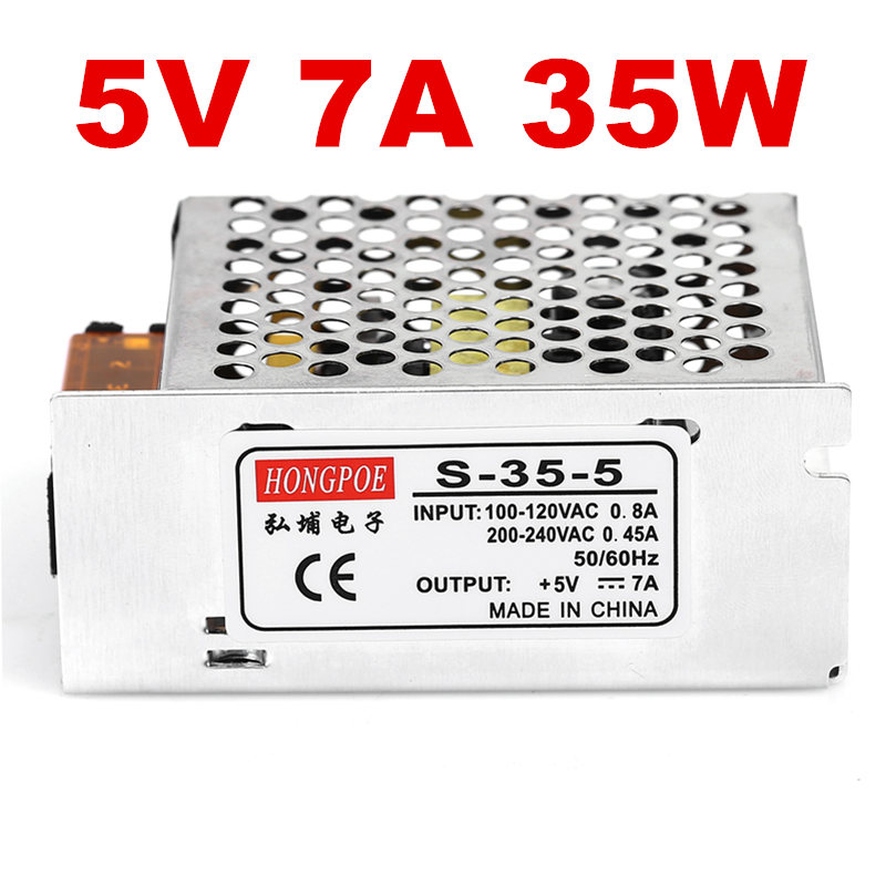 5 PCS 5V 7A 35W Switching Power Supply Driver for LED Strip AC 100-240V Input to DC 5V юбка oodji ultra цвет лимонный 11605061 1 35319 5100n размер 42 48 170