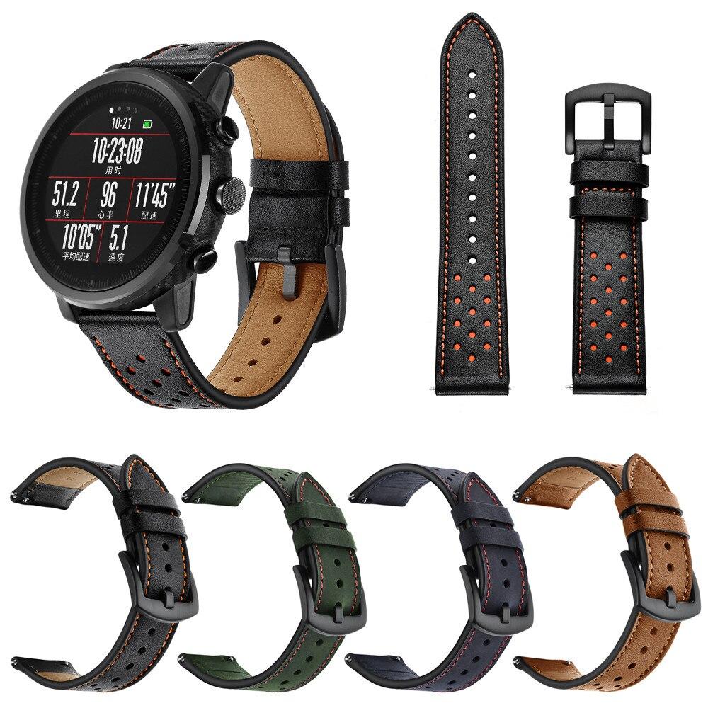 4eed96de74 Tiras Pulseira para HUAMI Amazônia Stratos Relógio Inteligente 2 2 s Couro  Genuíno Faixa de Relógio Inteligente Wrist Straps JL.17