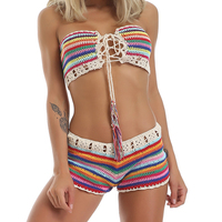 Vintage Crochet Bikini Set 2019 Summer Sexy Rainbow Handmade Knitted Swimsuit Hot BOHO Striped Cotton 2 Piece Set Beachwear