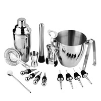 16pcs/set Bar Set Bartender Kit Stainless Steel Shaker Mixer Drink Wine Tools for Cocktail Wine and Cocktail Mixing Cocktail Set