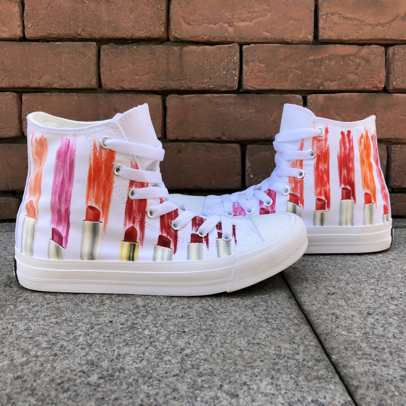 Wen Female Canvas White Shoes Custom Design Colorful Lipsticks Hand Painted Shoes High Top Laced Girl Women's Board Sneakers wen design custom hand painted canvas fashion shoes colorful lipsticks high top shoes sneakers white graffiti shoes men women