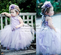 Lovely Light Purple Tulle Ball Gown Little Flower Girl Dresses for Wedding Cute first communion pageant  dress for girls Cheap