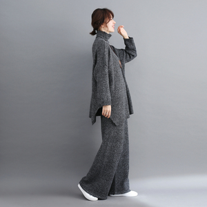 Image 5 - Plus Size Women 2 Pieces Pant Sets 2019 New Turtleneck Knitted Sweaters Pullovers and Wide Leg Warm Pant Lady Pant Suits