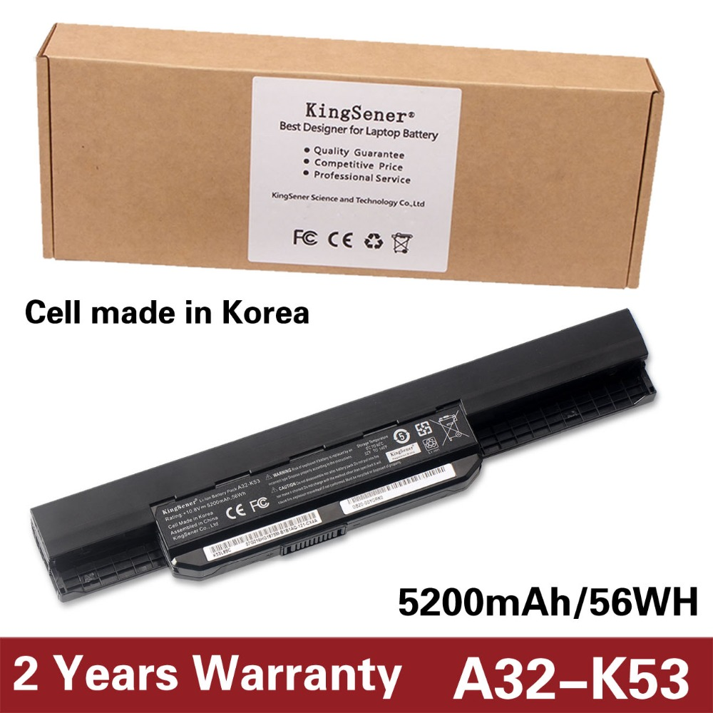 Korea Cell KingSener New A32-K53 Battery for ASUS K43 K43E K43J K43S K43SV K53 K53E K53F K53J K53S K53SV A43 A53S A53SV 5200mAh 11 1v 97wh korea cell new m5y0x laptop battery for dell latitude e6420 e6520 e5420 e5520 e6430 71r31 nhxvw t54fj 9cell
