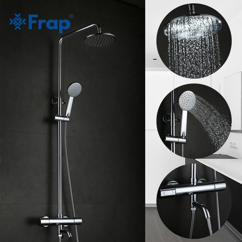 Frap Ванная комната термостатический смеситель для душа Установить ванна краны холодной и горячей воды смесителя с носа двойная ручка GLD1193-F